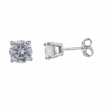 SterlingSilver Tone Cubic Zirconia Solitaire Stud Earrings