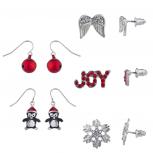 Silver Tone Christmas Holiday XMas Novelty Multi Earring Set 5PC