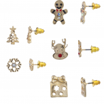 Gold Tone Christmas Gingerbread Novelty Multi Earring Set 5PC