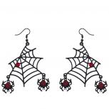 Black Spider Web DanglingRed Rhinestone Halloween Earrings