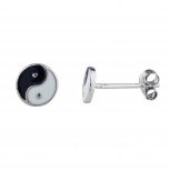 Silver Tone Ying Yang Twin pair Enamel Novelty Stud Earrings
