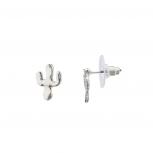 Antique Silver Tone Cactus Desert Tribal Stud Earrings