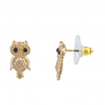 Women's Girl's Gold Tone Black Eyes Hammered Owl Stud Earrings