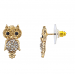 GoldTone Crystal Rhinestone Black Eyes Hammered Owl Stud Earring