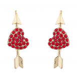 Gold Tone Red Heart Valentines Day V-Day Novelty Arrow Earrings