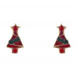 Goldtone Red Green Enamel Rhinestone Xmas Tree Stud Earring