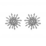 Silver Tone Crystal Rhinestone Snowflake Starburst Stud Earring