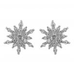 Silver Tone Crystal Rhinestone Snowflake Winter Stud Earring