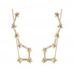 Gold Tone Celestial Star Cuff Ear Creeper Threader Earrings
