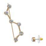 Goldtone Celestial Constellation Creeper Ear Threader Earrings