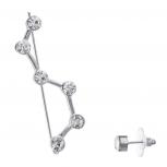 Silvertone Celestial Constellation Ear Creeper Threader Earrings