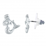 Silver Tone Mermaid Under the Sea Mini Novelty Stud Earrings