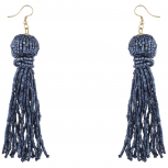 Trendy Navy Blue Boho Seed Bead Tassel Dangle Statement Earrings