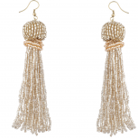 Trendy Beige Boho Seed Bead Tassel Dangle Statement Earrings