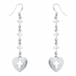 SilverTone Tier Cross Heart Religious Dangle Fish Hook Earrings