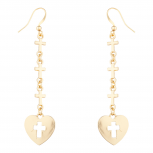 Gold Tone Tiered Cross Heart Religious Dangle Fish Hook Earrings