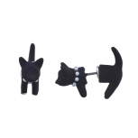 Black Kitty Cat Faux Pearl Stone Collar Front to Back Earrings