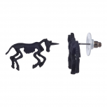 Matte Black Tone Skeleton Unicorn Novelty Stud Earrings