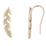 Gold Tone Boho Casted Feather Ear Creeper Ear Cuff Ear Threader
