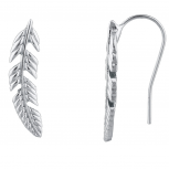 SilverTone Boho Casted Feather Ear Creeper Ear Cuff Ear Threader