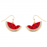 Gold Tone Faux Rhinestone Watermelon Dangle Statement Earrings