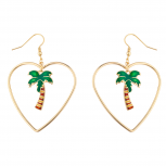 GoldTone Tropical Palm Tree Heart cut out Summer Dangle Earring