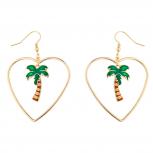 GoldTone Tropical Palm Tree Heart cut out Summer Dangle Earring