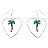 SilverTone Tropical Palm Tree Heart Summer Dangle Earrings