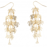 Gold Tone Palm Tree Tropical Vacation Chandelier Dangle Earrings