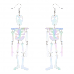 White AB Skeleton Body Halloween Dress Up Dangle Earrings
