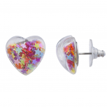 Clear Lucite Heart Bright Heart Confetti Filled Stud Earrings
