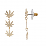 Gold Tone Marijuana Sign Weed Leaf Hippie Tiered Dangle Earrings