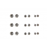 Multi Size Circle Black Rhinestone Stud Earrings Set (9 Pairs)