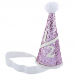 Glitter Baby Girl Infant Birthday Cake Smash Pom Party Hat