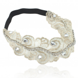 Pave Crystal Fabric Floral Stretch Headband Head Band