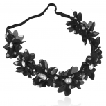 Black White Polka Dot Crystal Floral Flower Stretch Headband Head Band