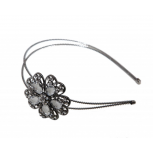 Gunmetal Embellished Stone Flower Wire Headband