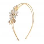 Pink Stone Floral Burst Wire Flower Headband