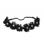 Lux Black Fabric Flower Rhinestone Stretch Headband Chiffon Floral Head Band