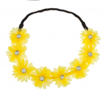Stretch Fit Floral Headband Head Crown Flower Crown Head Piece Bright Yellow