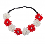 Red n White Xmas Holiday Christmas Floral Chiffon Headband