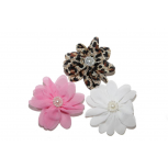 Flower Floral Hair Clip Set White Pink Leopard Floral Faux Faux Pearl