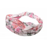Floral Lace Flower Fabric Pink Stretch Flower Head Wrap Headband