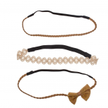 Bow Twist Woven Brown Stretch Headband Set Head Band (3 PC)