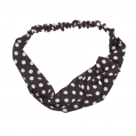 Black White Polka Dot Bow Tie Stretch Headband Head Band