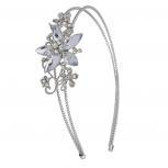 Silvertone Crystal and Pave Stone Bridal  Vine Flower Headband