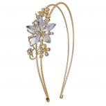 Goldtone Crystal and Pave Stone Bridal  Vine Flower Headband