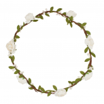 White Rose Flower Bud Leaf Branch Head Wreath