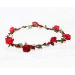 Red Rose Bud Green Leaf Garland Flower Floral Headwrap Head Wreath