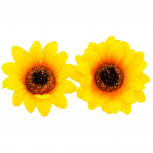 SunFlower Floral Fabric Hair Clip Set